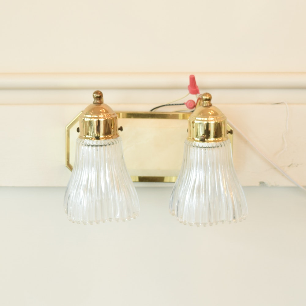 Two Socket Brass Wall Sconce