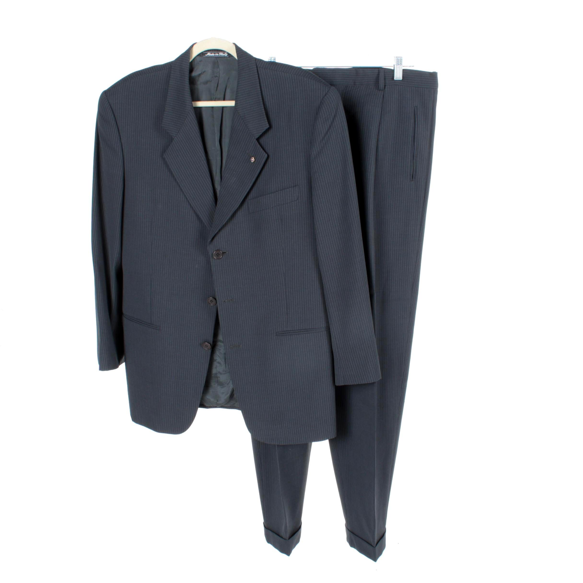 Men's Giorgio Armani Le Collezioni Wool and Silk Blend Grey Pinstripe Suit