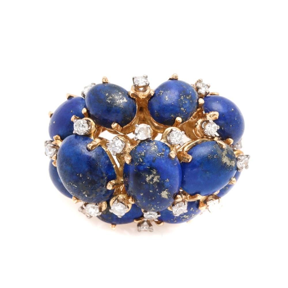 18K Yellow Gold Lapis Lazuli and Diamond Statement Ring