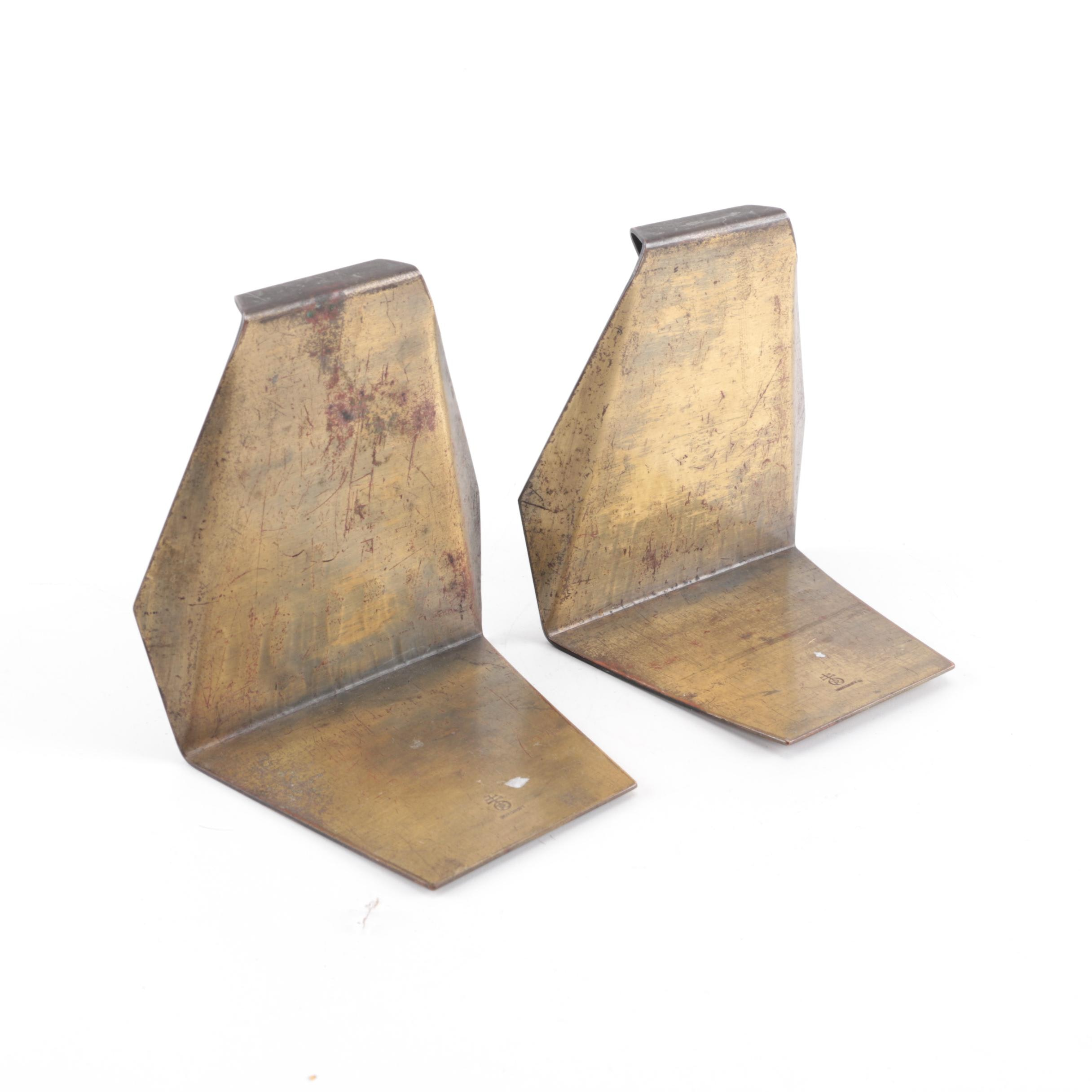 Pair of Roycroft Hand-Hammered Brass Bookends