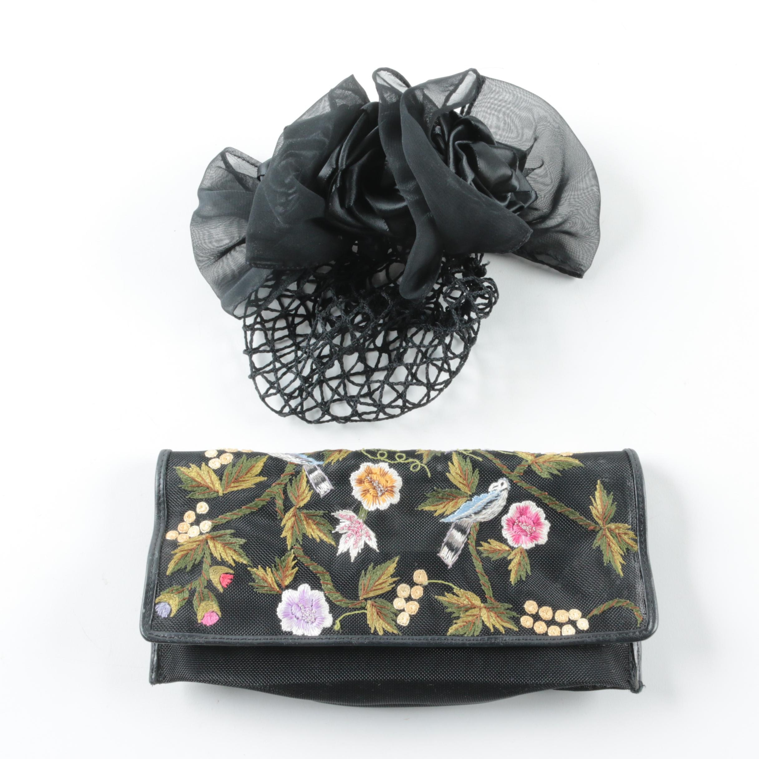 Michelle Hatch Mesh Embroidered Clutch and Eve Reid Hairpiece