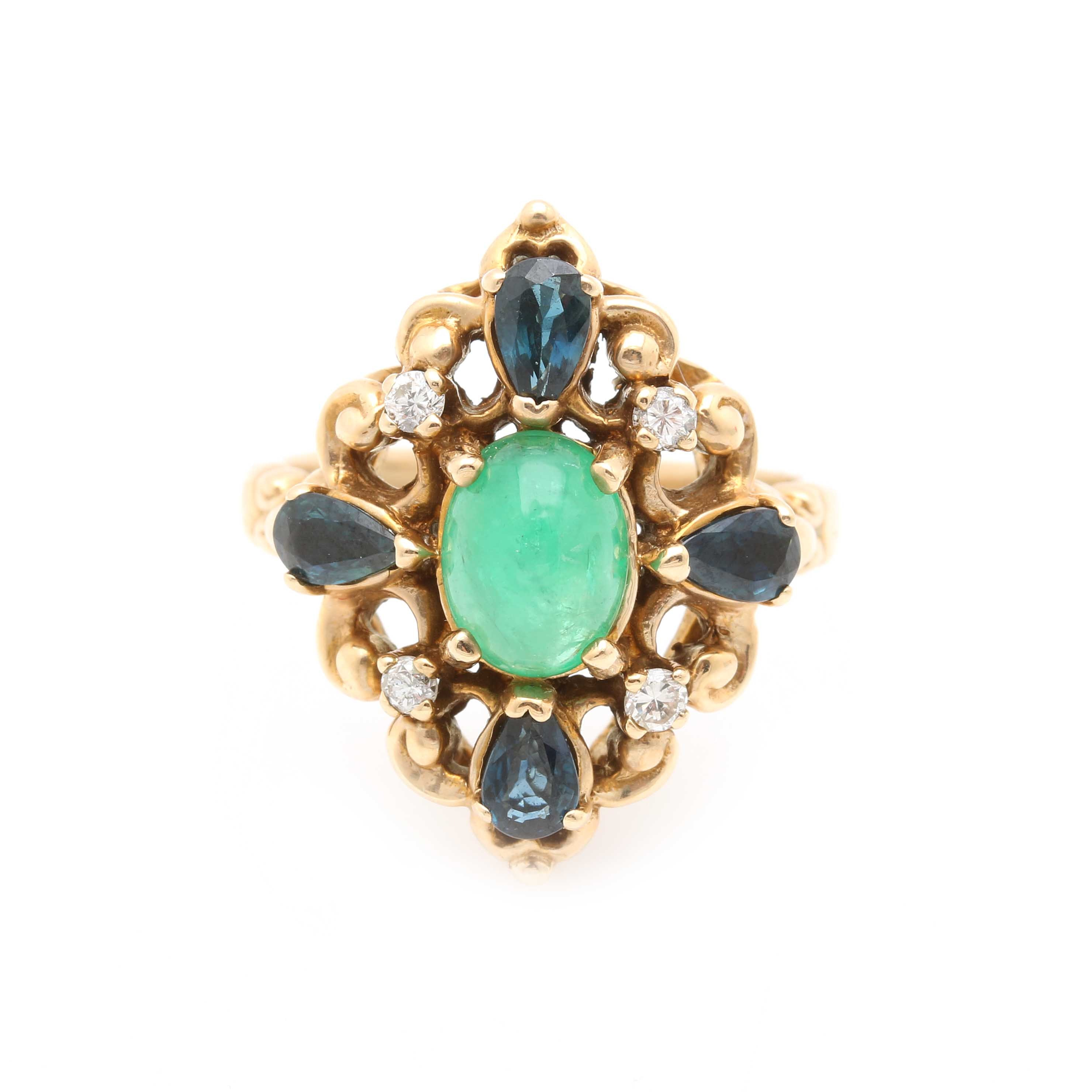 Vintage 14K Yellow Gold Emerald, Sapphire and Diamond Ring