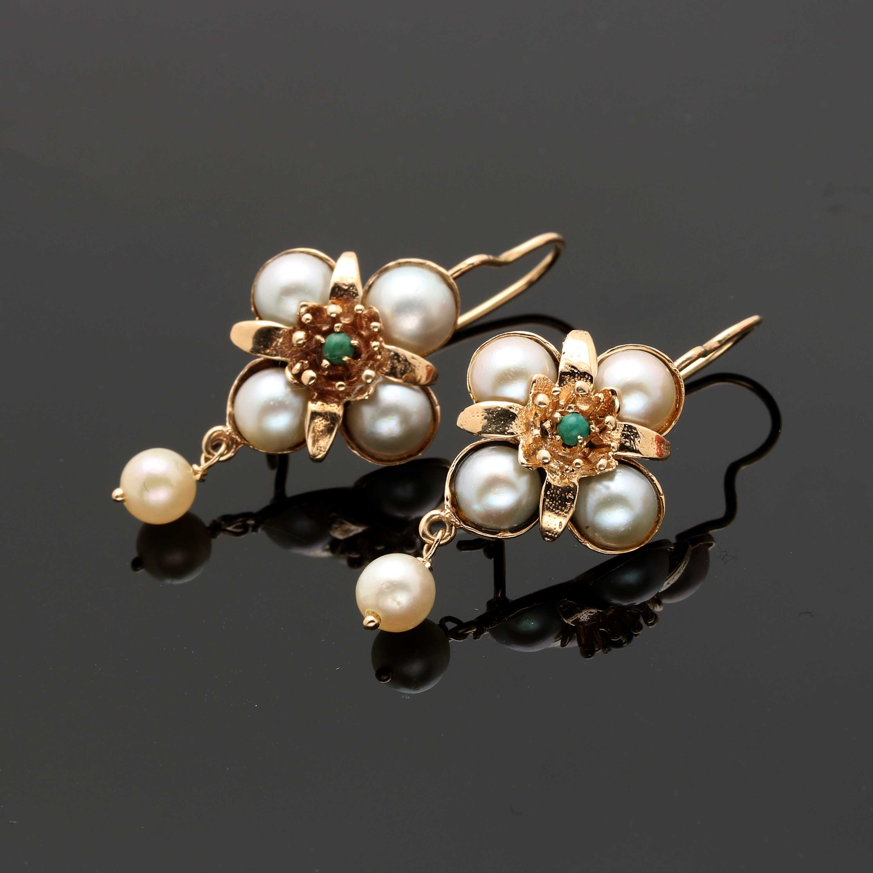 14K Yellow Gold Turquoise and Cultured Pearl Earrings