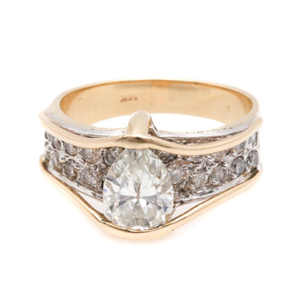 14K Yellow Gold 1.66 CTW Diamond Ring