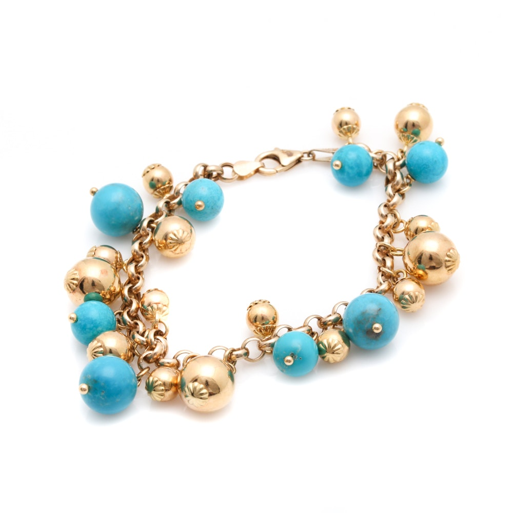 14K Yellow Gold Beaded Turquoise Bracelet