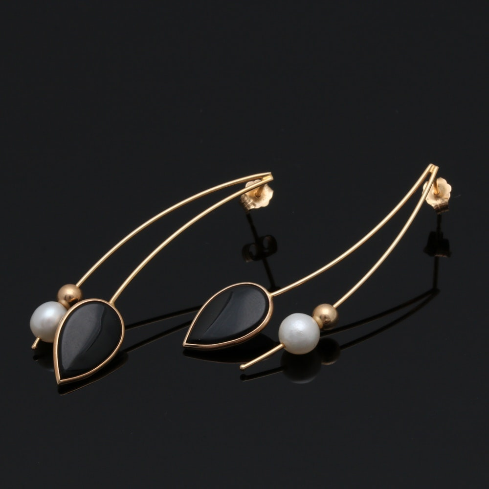 14K Yellow Gold Black Onyx and Cultured Pearl Drop Earrings