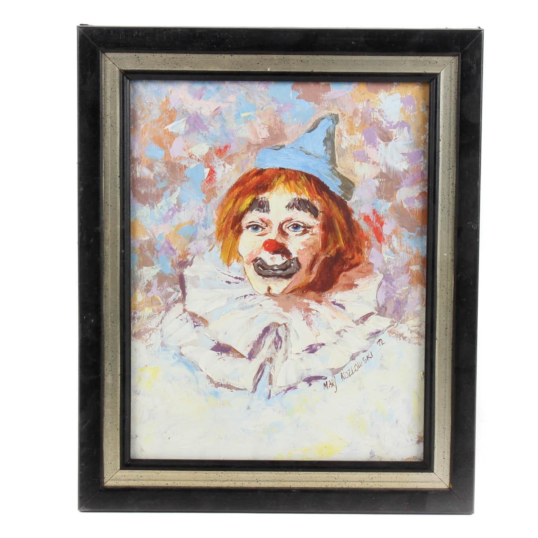 Marj Kozlowski Oil on Board Clown Portrait