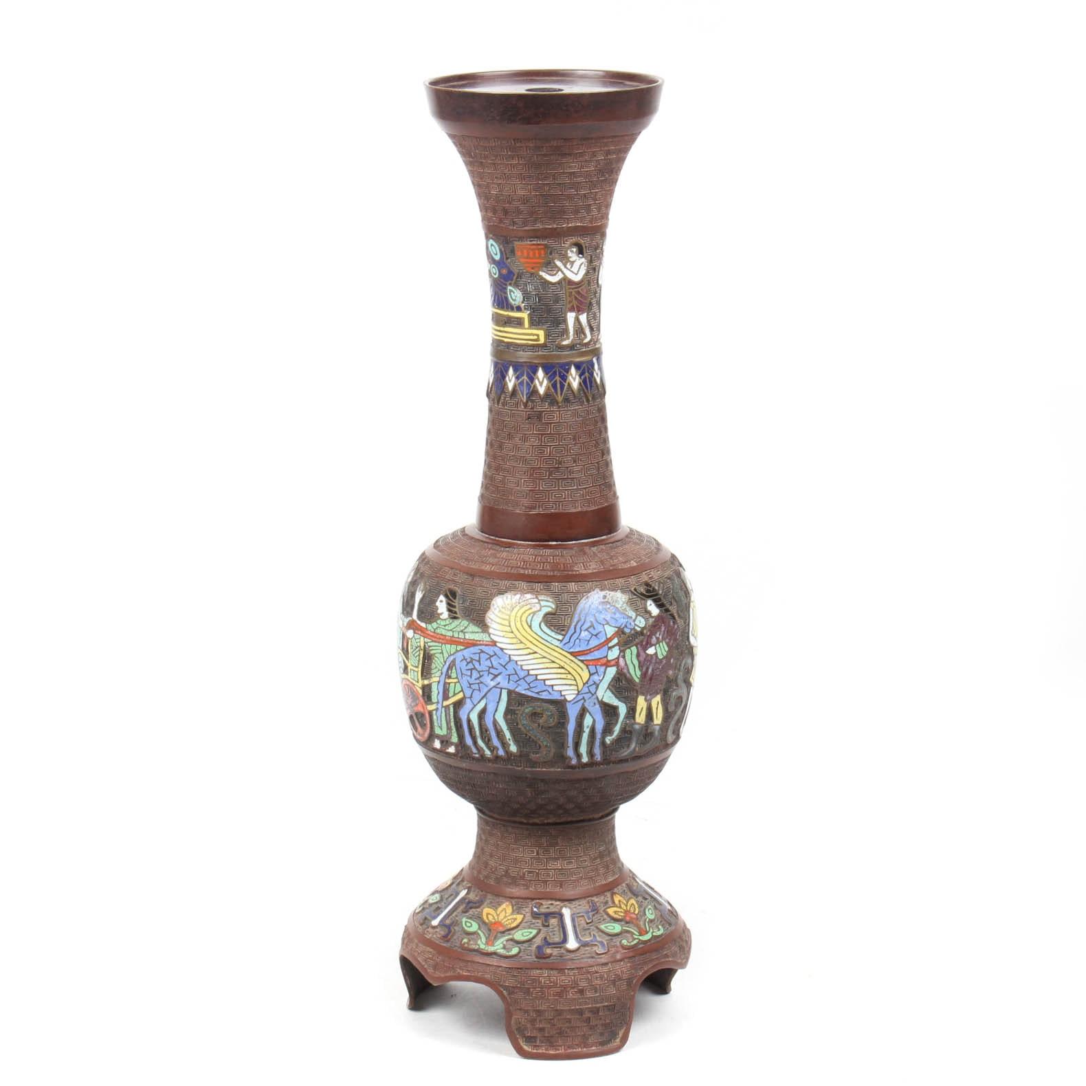 Vintage Persian Bronze and Enamel Lamp Base