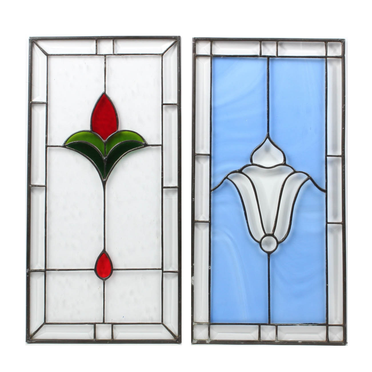 Pair of Ruth Elizabeth Green Stained Glass Panels