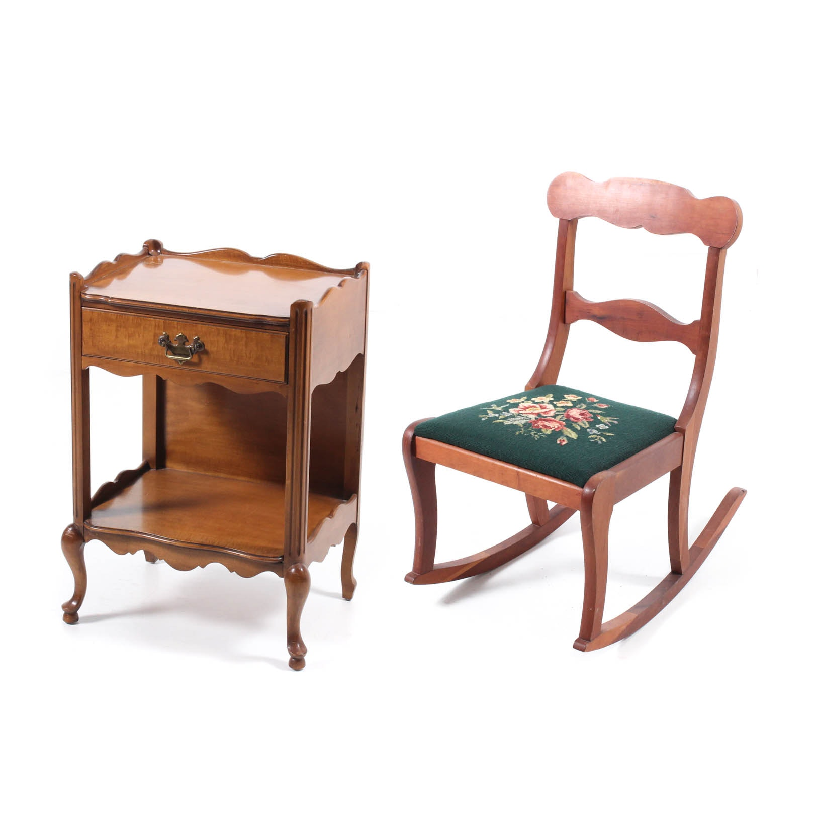 Vintage Needlepoint Rocker and Nightstand