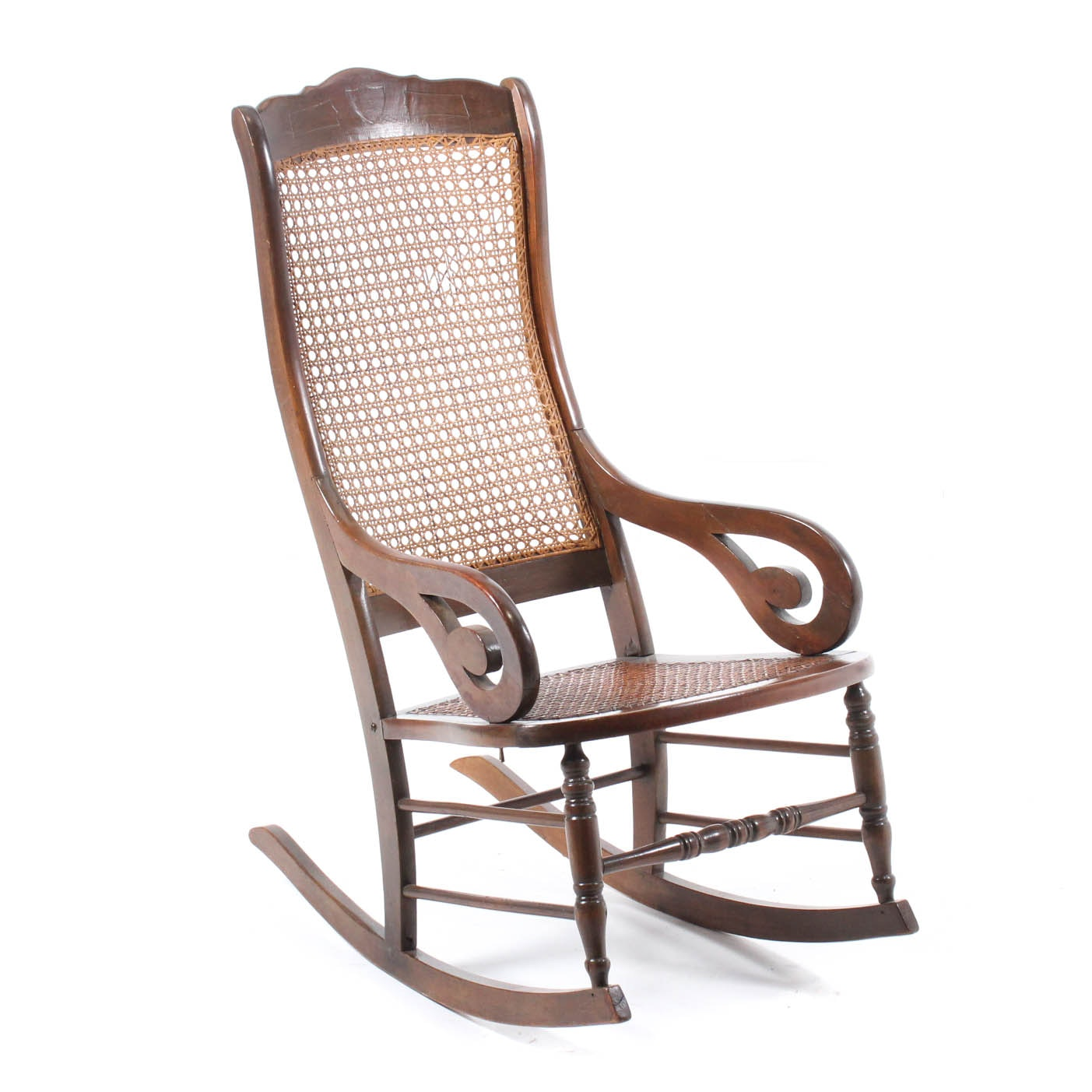 Vintage Rocker with Caned Seat and Back