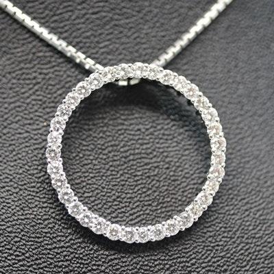 14K White Gold 1.05 CTW Diamond Circular Pendant Necklace