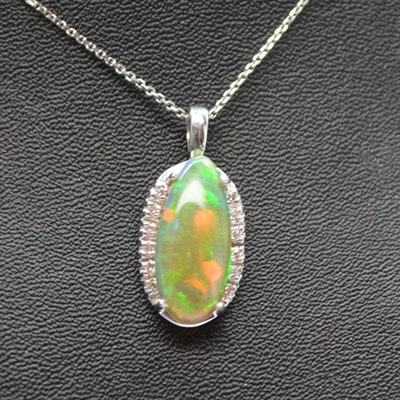 14K White Gold Jelly/Fire Opal and Diamond Pendant Necklace