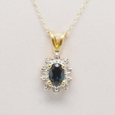14K Yellow Gold Sapphire Diamond Pendant Necklace