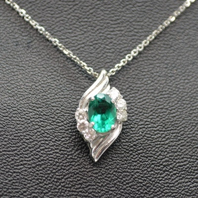 14K White Gold Synthetic Spinel and Diamond Pendant Necklace