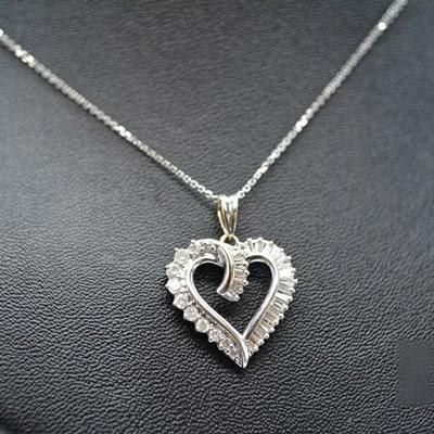 14K White Gold 0.74 CTW Diamond Heart Pendant Necklace