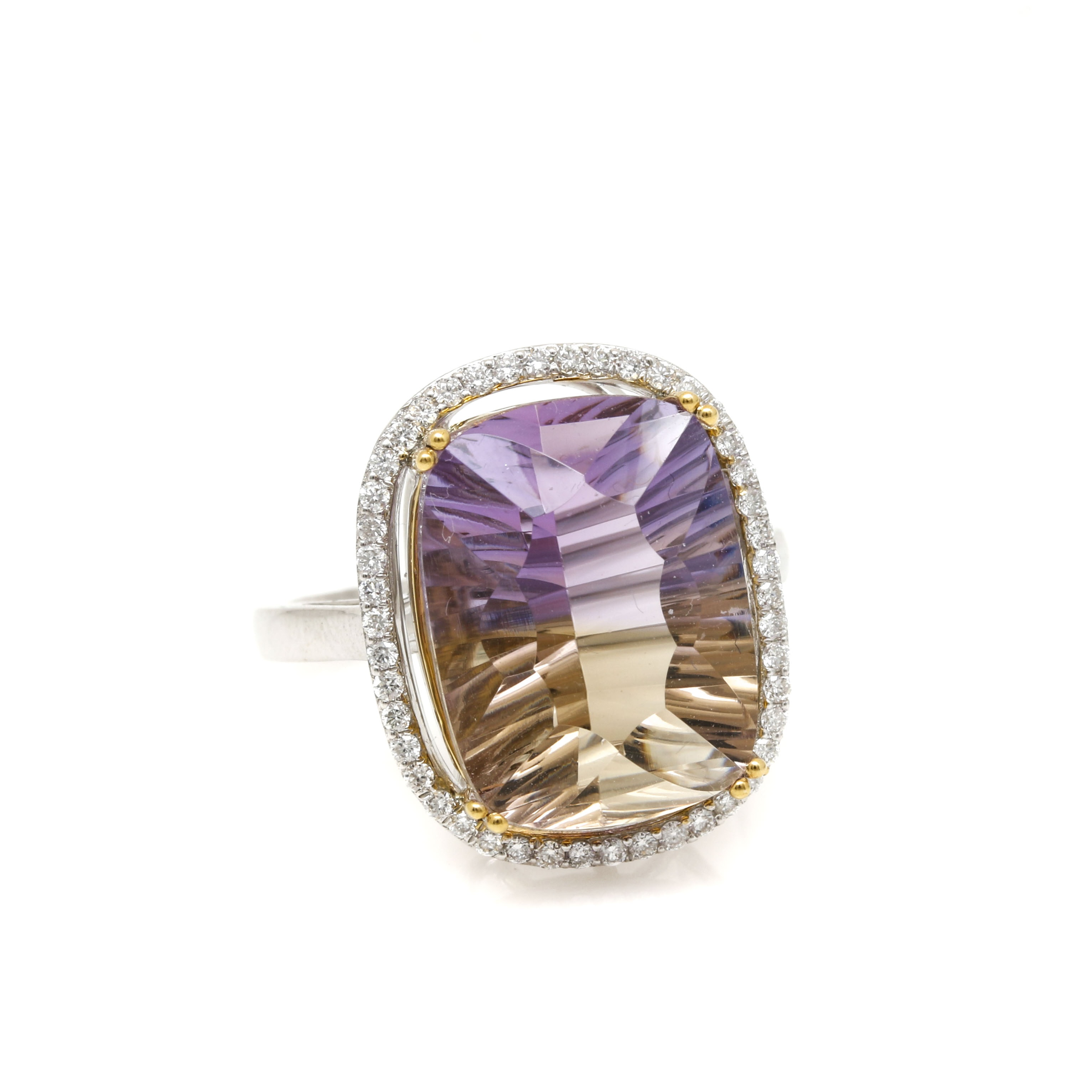 14K White Gold 9.43 CT Ametrine and Diamond Ring With Yellow Gold Accents