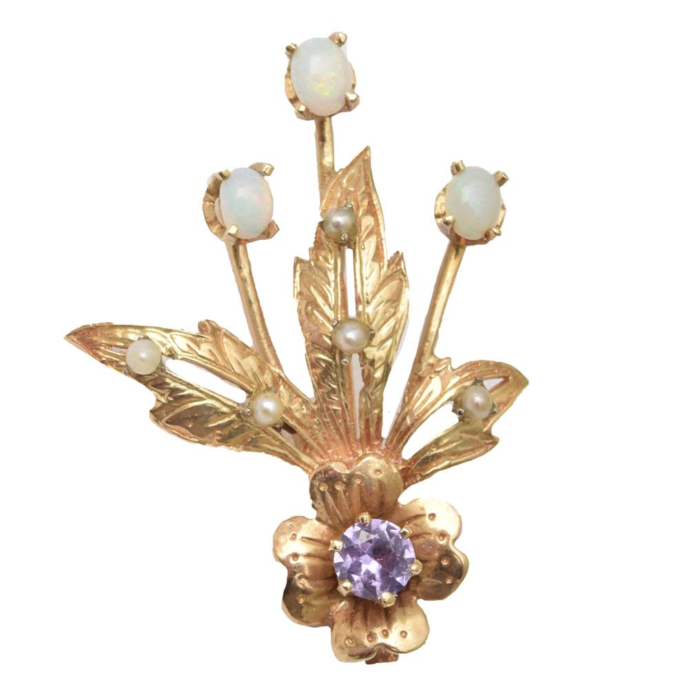 14K Yellow Gold, Opal, Seed Pearl and Synthetic Sapphire Flower Stick Pin