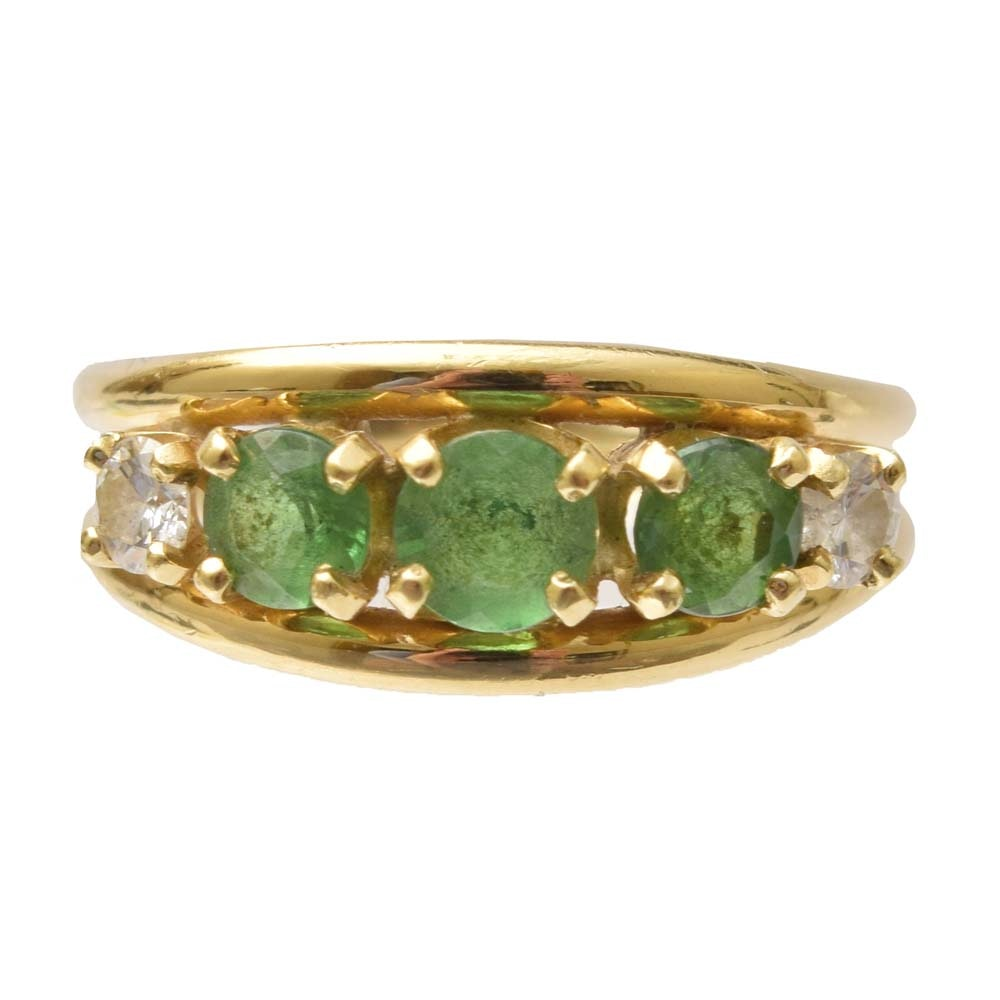 18K Yellow Gold 1.12 CTW Tsavorite Garnet and Diamond Ring