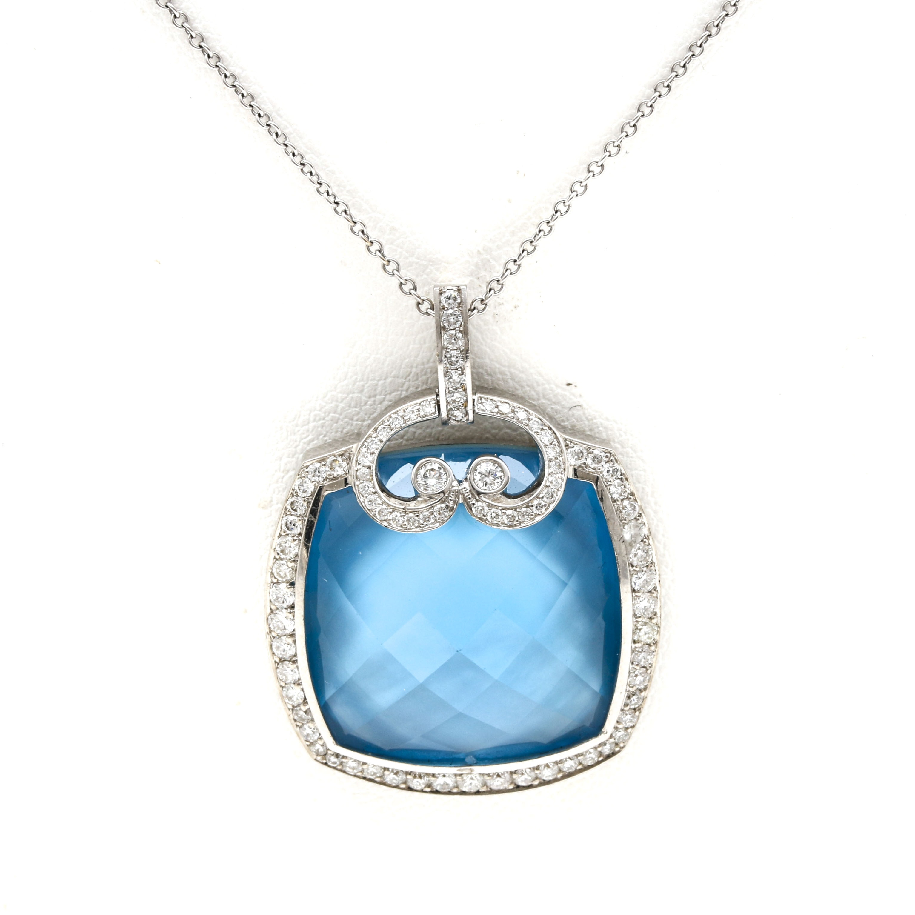 14K and 18K White Gold Blue Topaz Over Mother of Pearl and Diamond Necklace