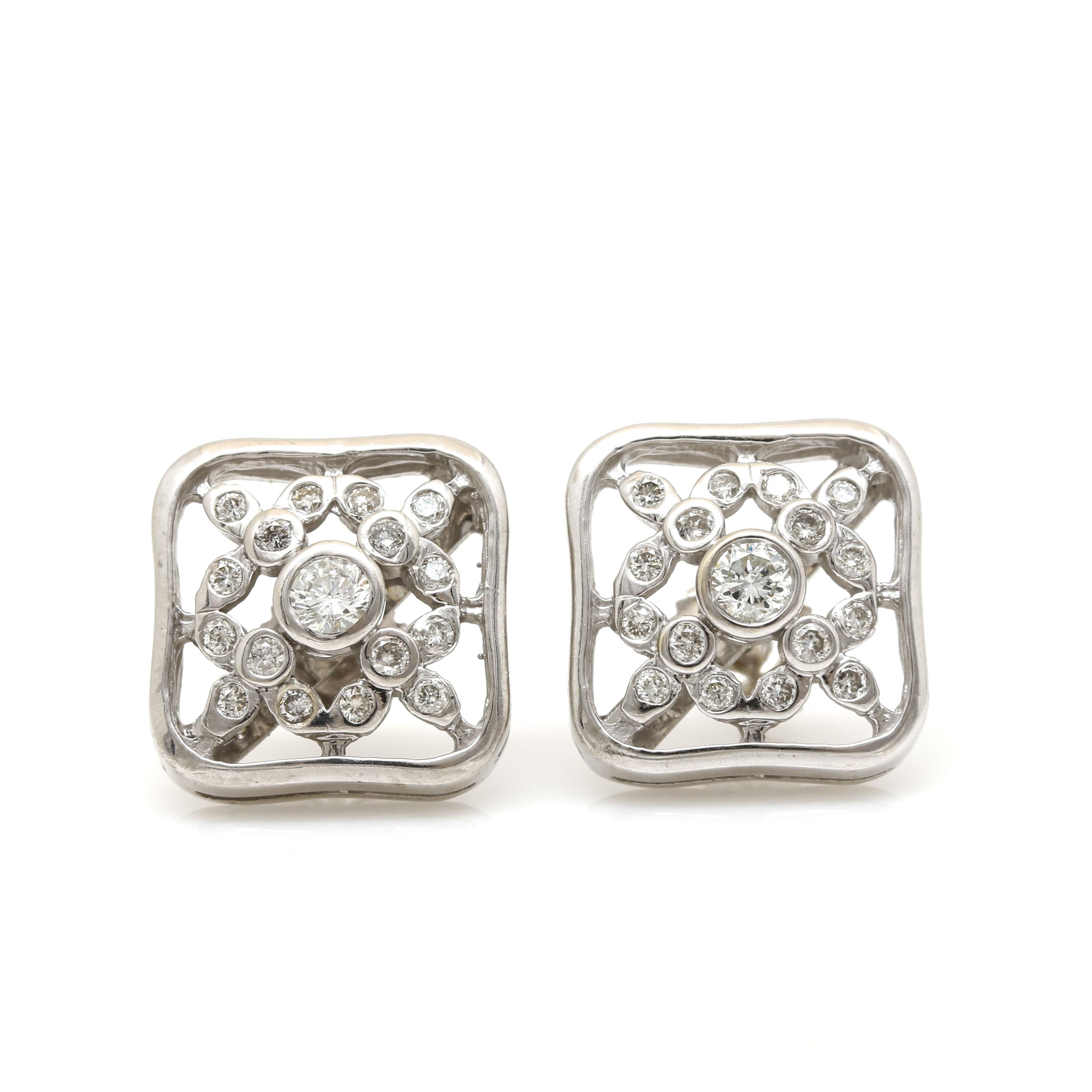 14K White Gold Diamond Square Earrings