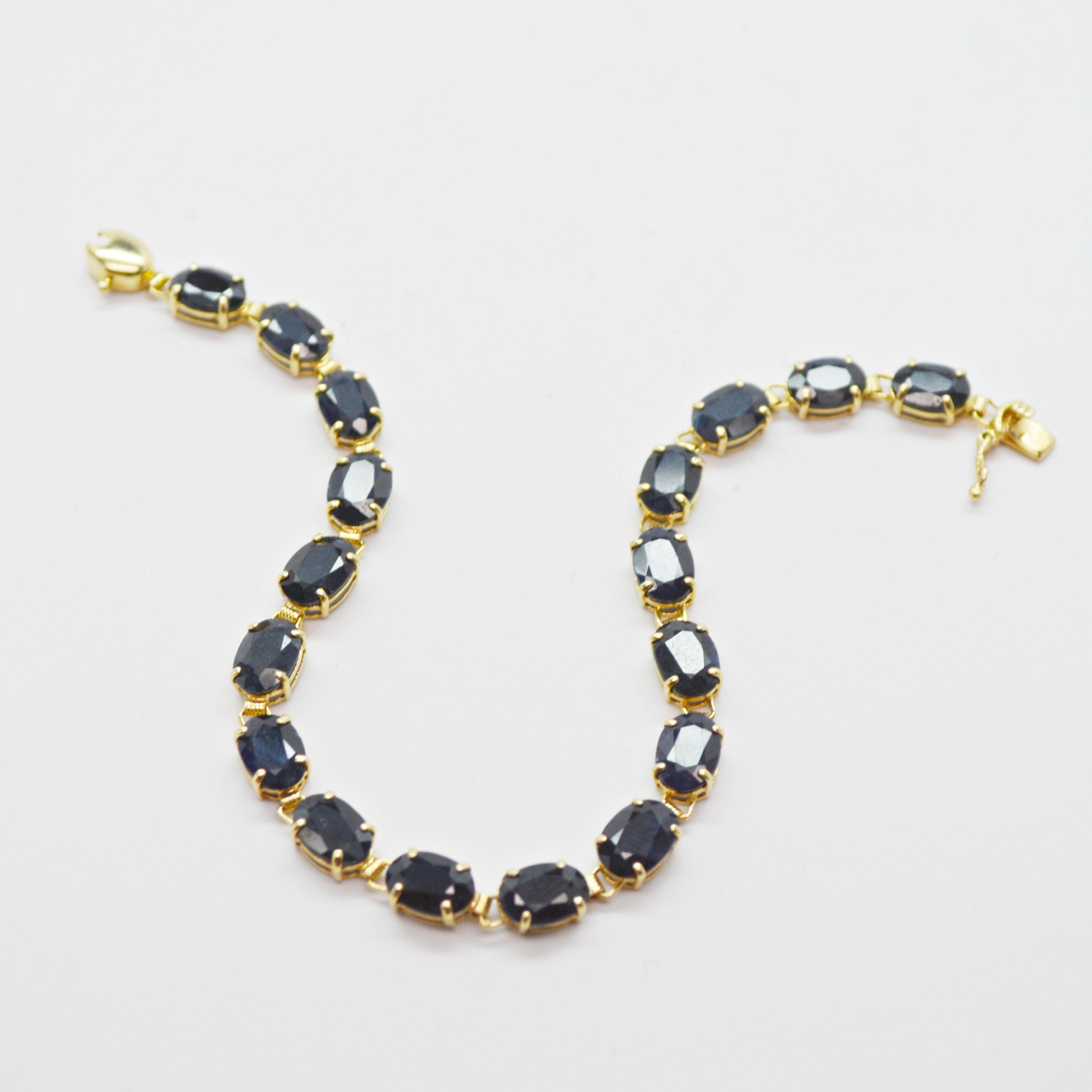 14K Yellow Gold Black Sapphire Bracelet