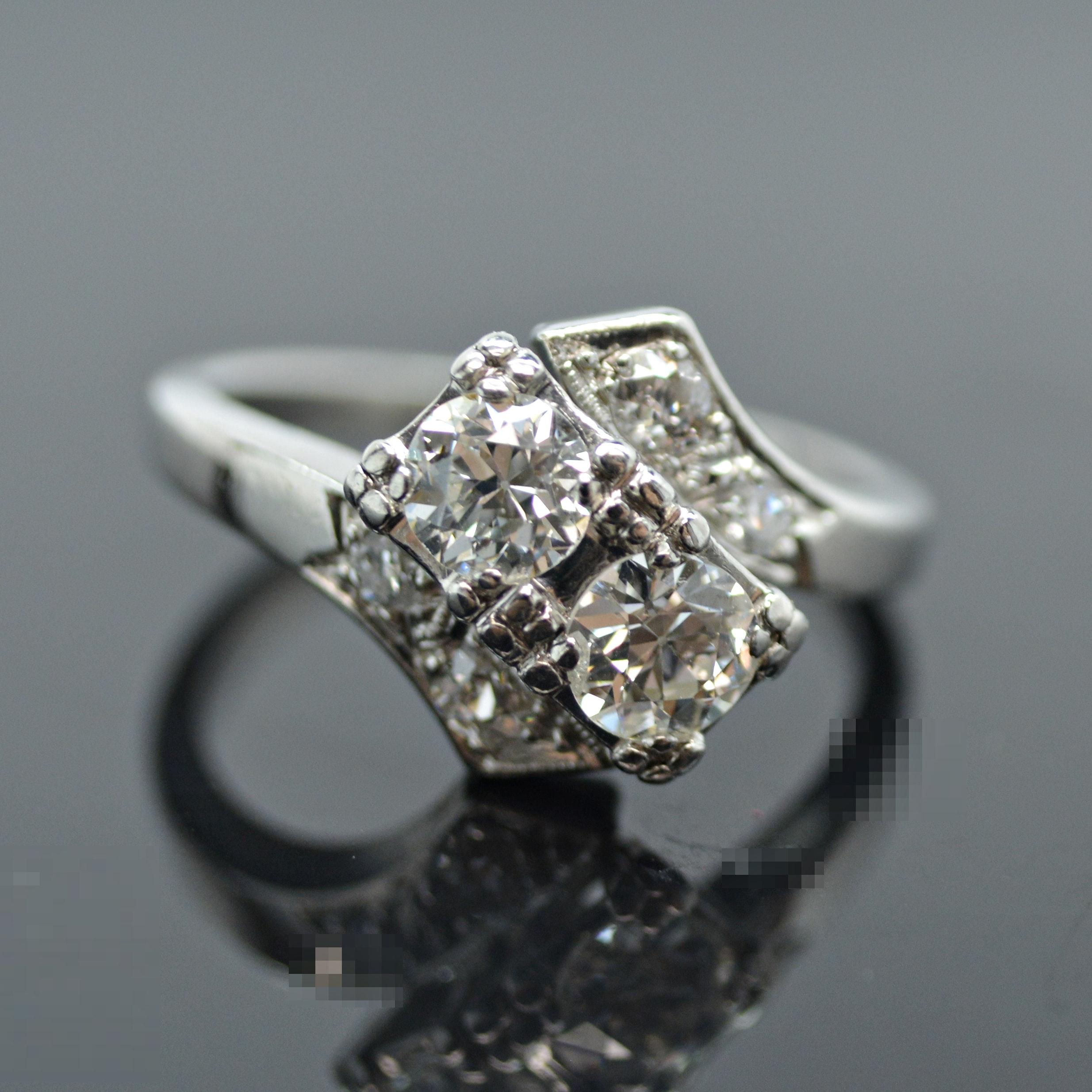 Platinum and Old European Cut Diamond Ring