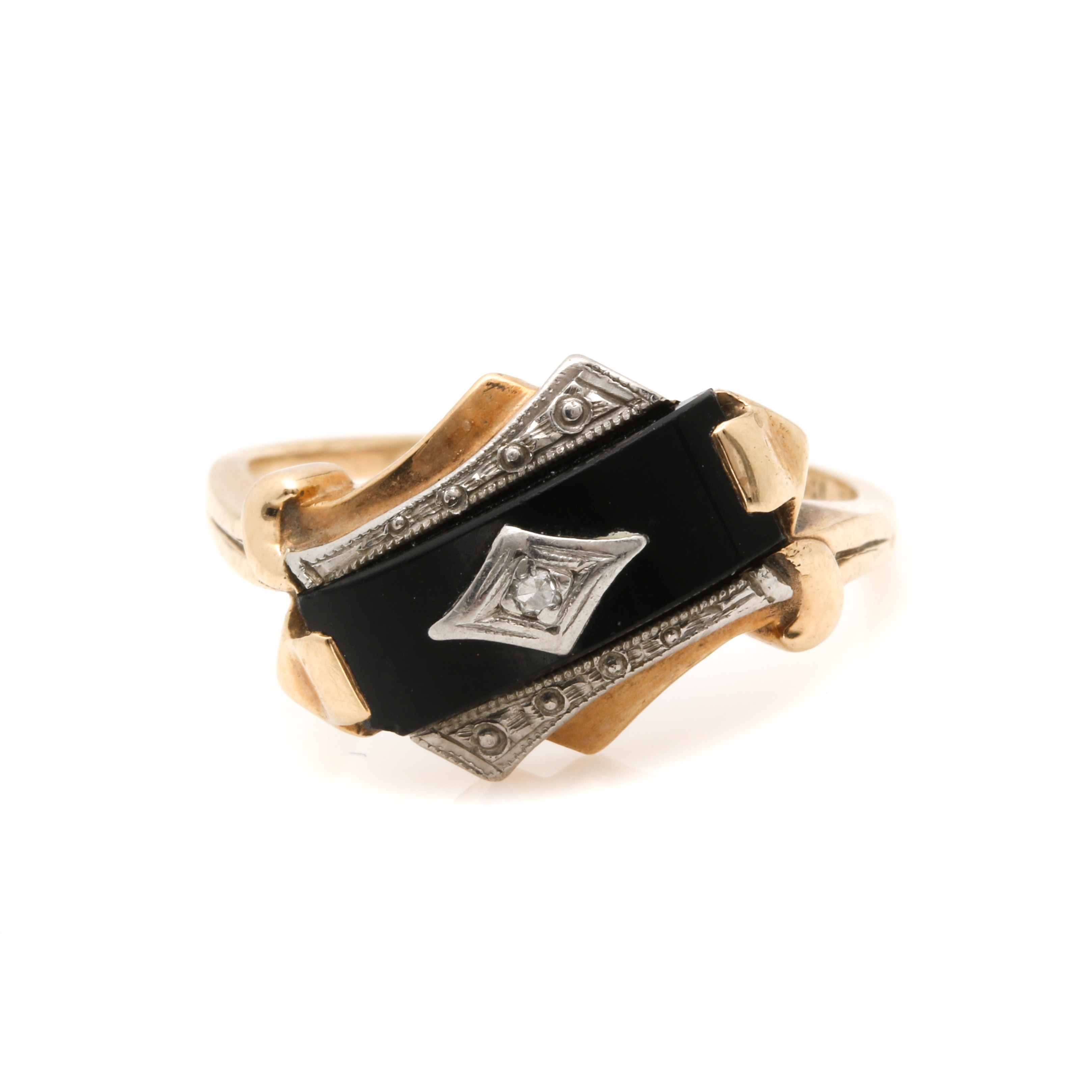 10K Two Tone Gold Diamond and Black Onyx Ring