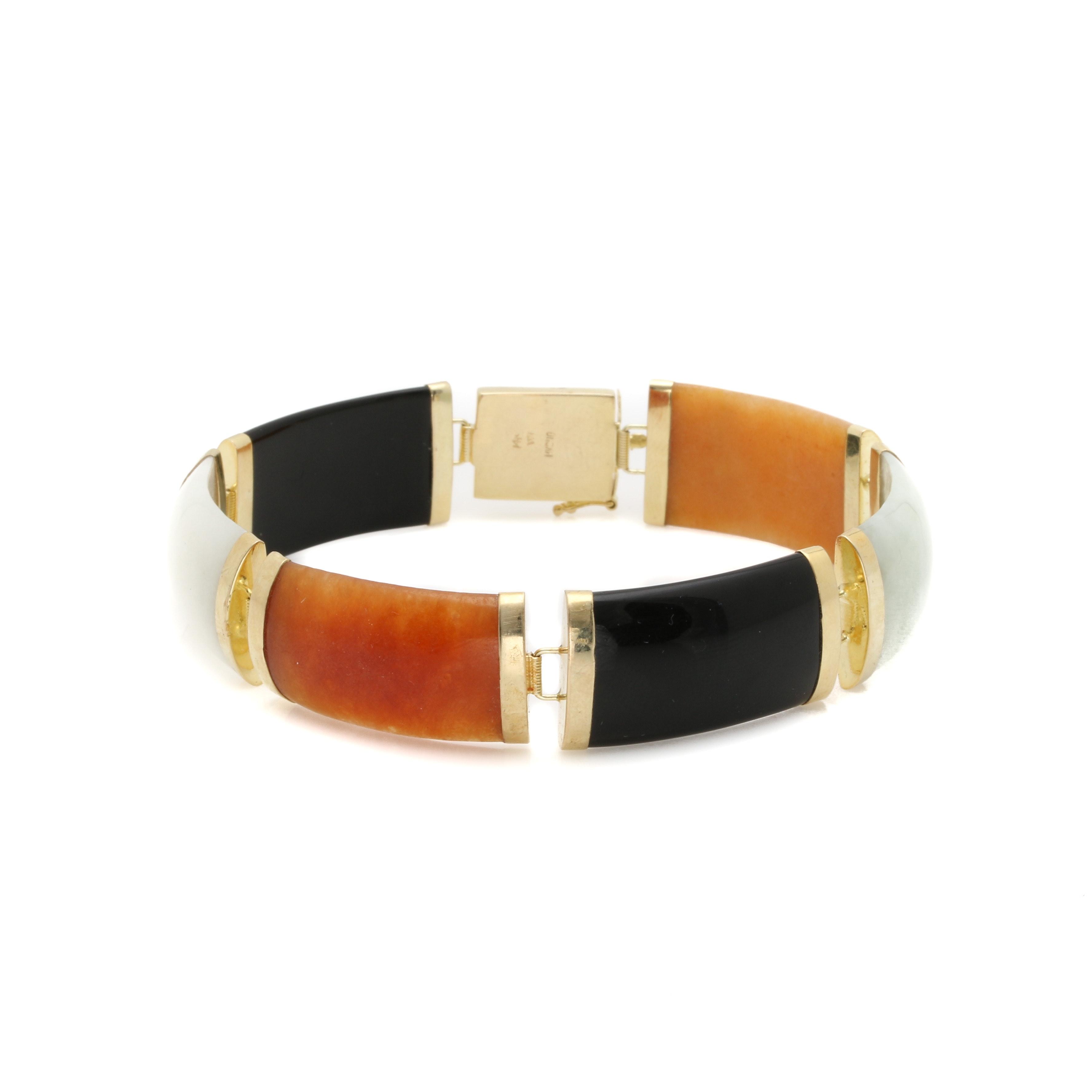 14K Yellow Gold Jadeite and Onyx Link Bracelet