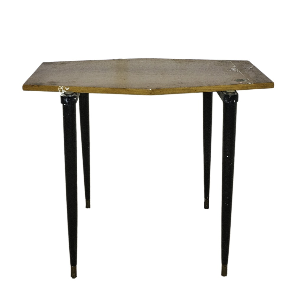 Mid Century Modern Walnut and Metal Accent Table