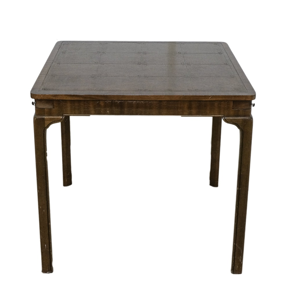 Mid-Century Card Table with Suit Embossed Faux Leather Top