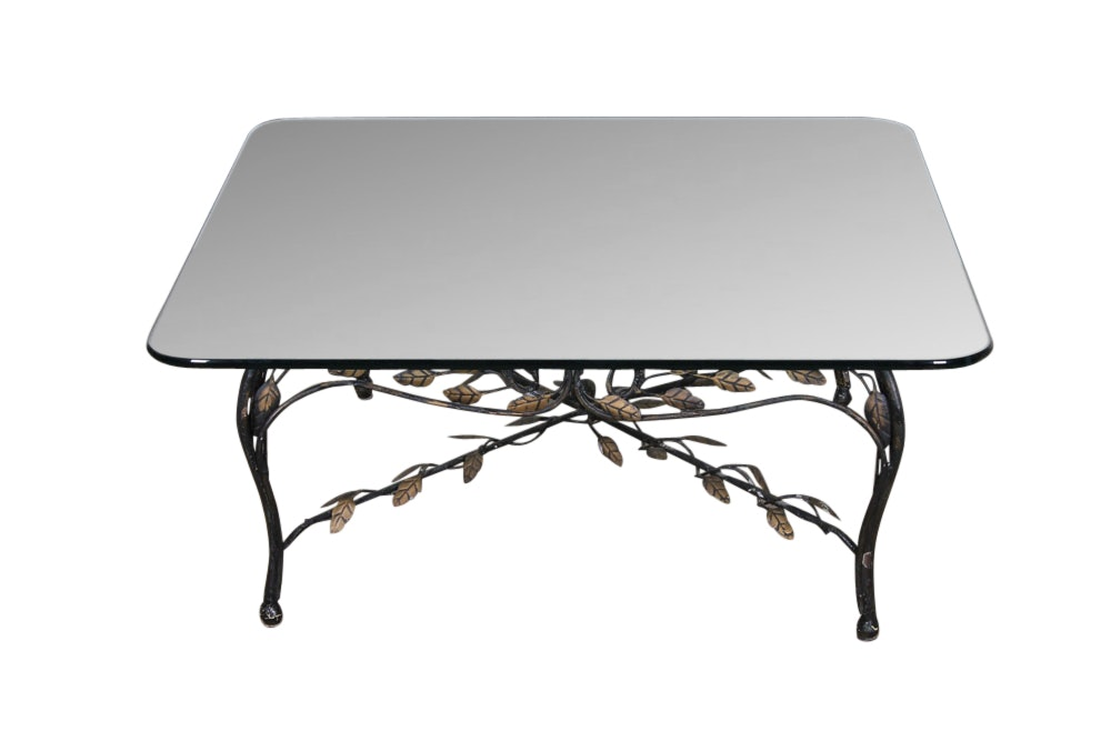 Hollywood Regency Style Wrought Iron Leaf Table With Glass Top