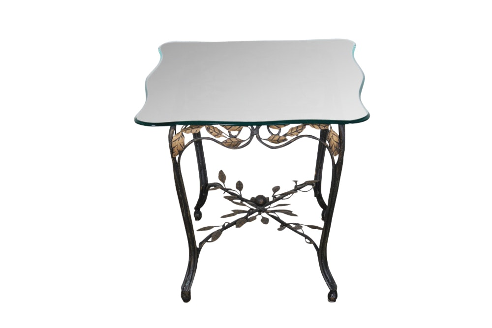 Hollywood Regency Wrought Iron and Glass End Table