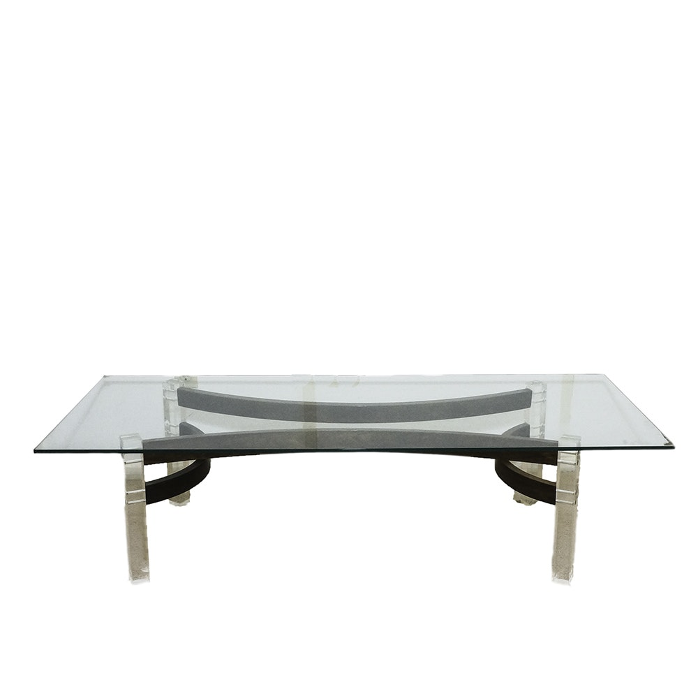 Mid Century Modern Glass Coffee Table with Geometric Wood and Acrylic Base