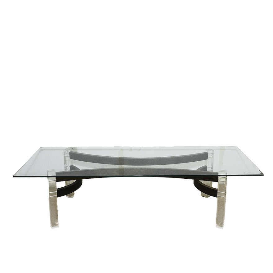Mid Century Modern Glass Coffee Table With Geometric Wood And - Mid century wood and glass coffee table