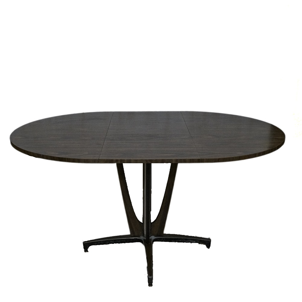 Mid Century Modern Dining Table with Geometric Wood & Metal Base