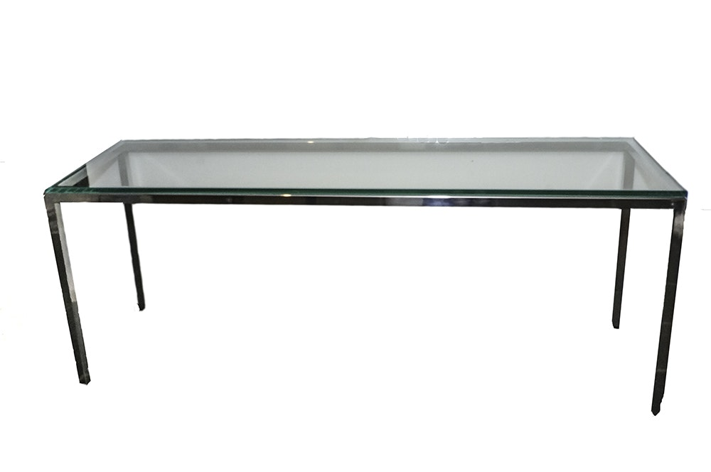 Contemporary Modern Metal Console Table with Glass Top