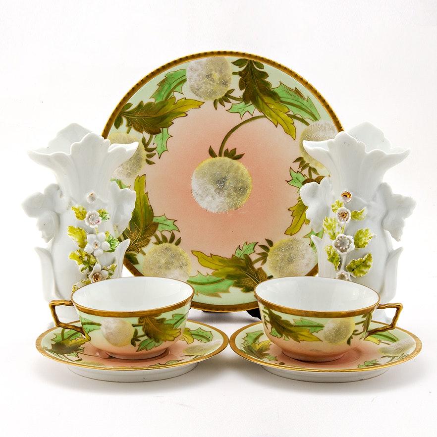 Porcelain Mantel Vases and Limoges China