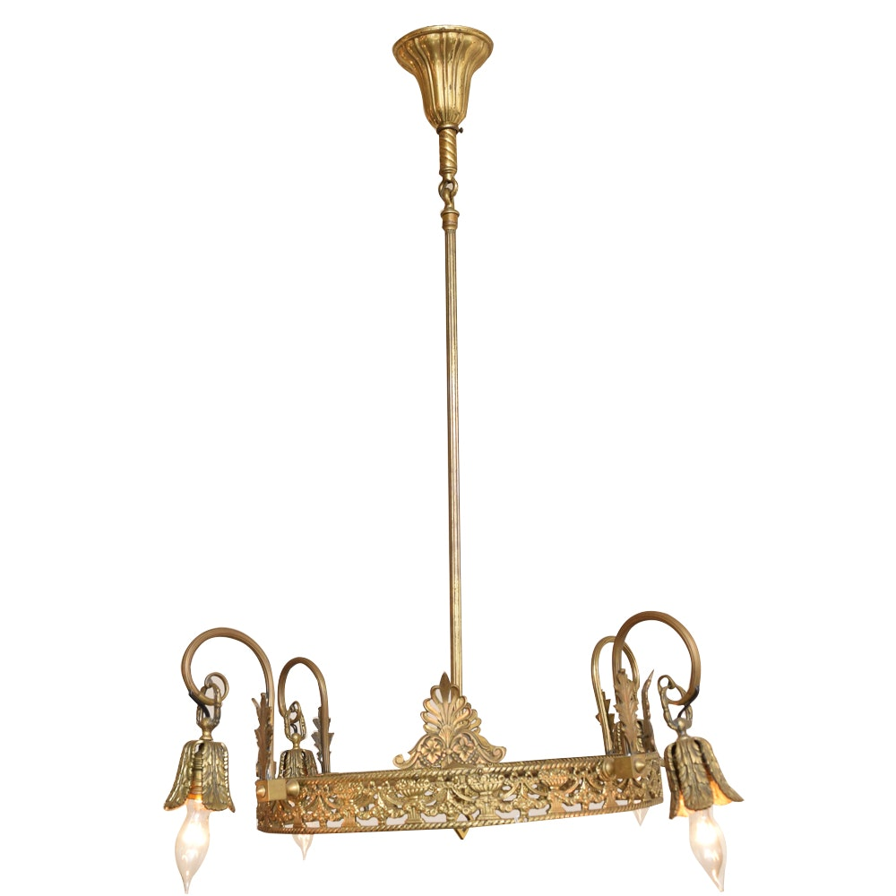 Vintage Neoclassical Style Brass Chandelier