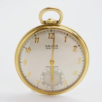 Vintage Gruen Veri-Thin 14K Yellow Gold Open Face Pocket Watch