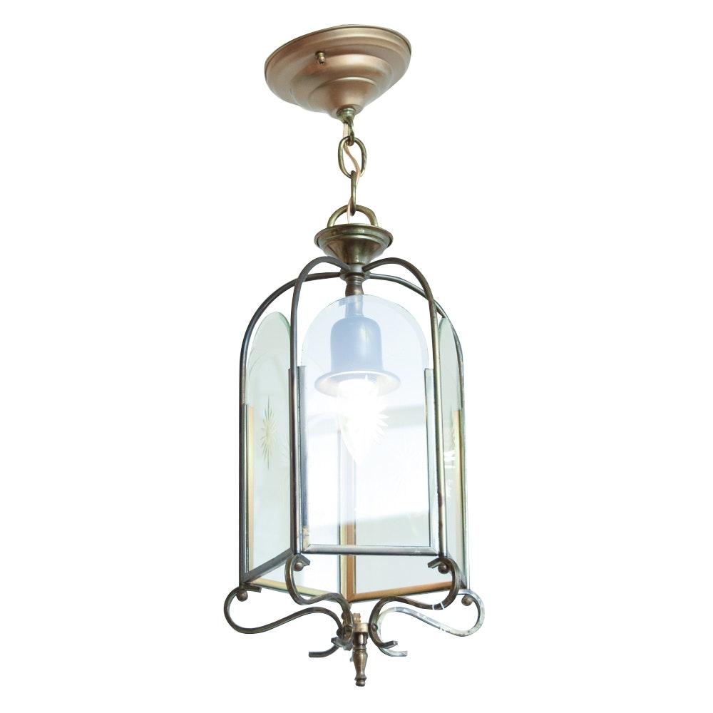 Brass and Glass Pendant Light Fixture