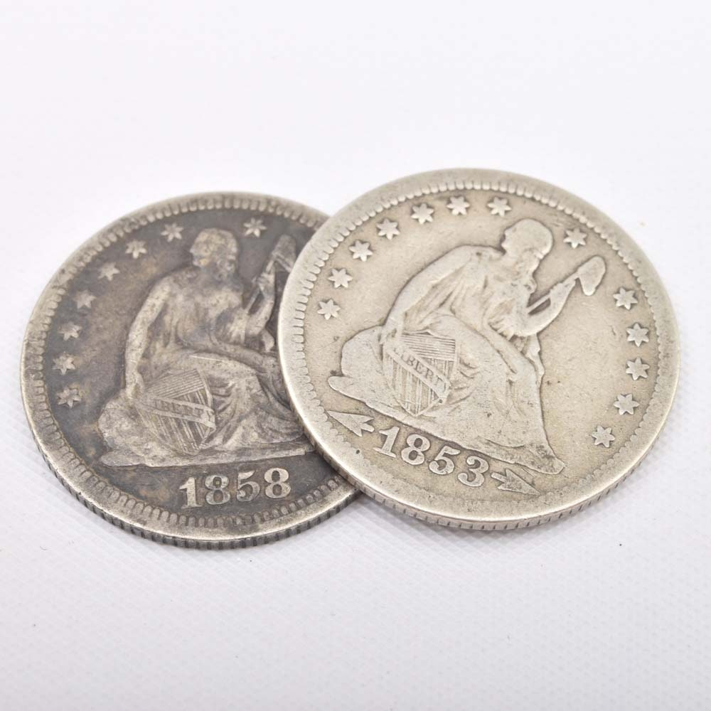 1853 and 1858 Silver Seated Liberty Quarters