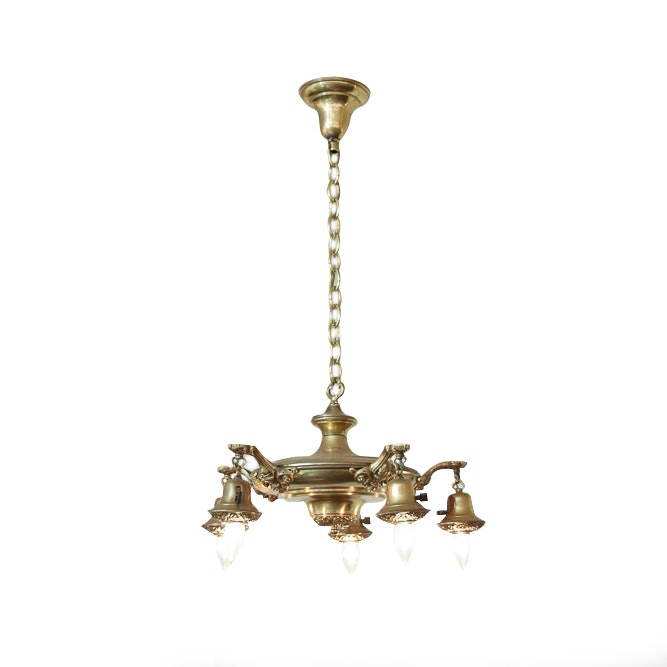 Vintage Brass Ceiling Light with Candle Bulbs