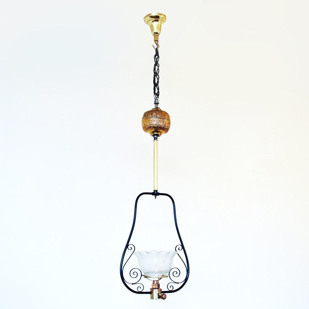 Antique Pendant Lamp in Metal Frame