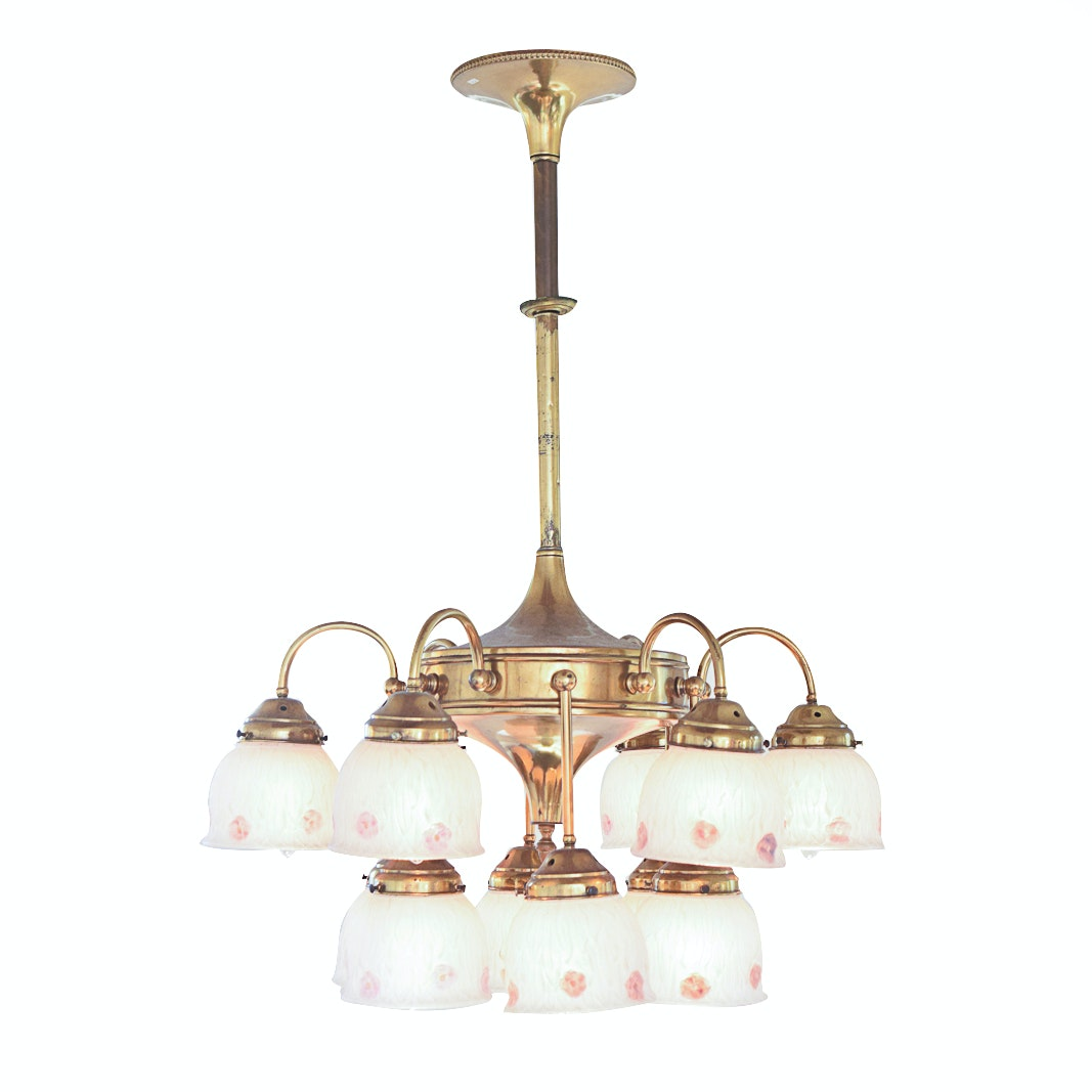 Vintage Two-Tiered Chandelier with Pendant Shades