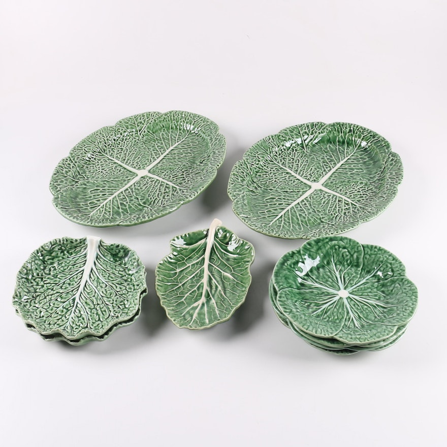"Bordallo Pinheiro Portuguese ""Cabbage Green"" Majolica Tableware"