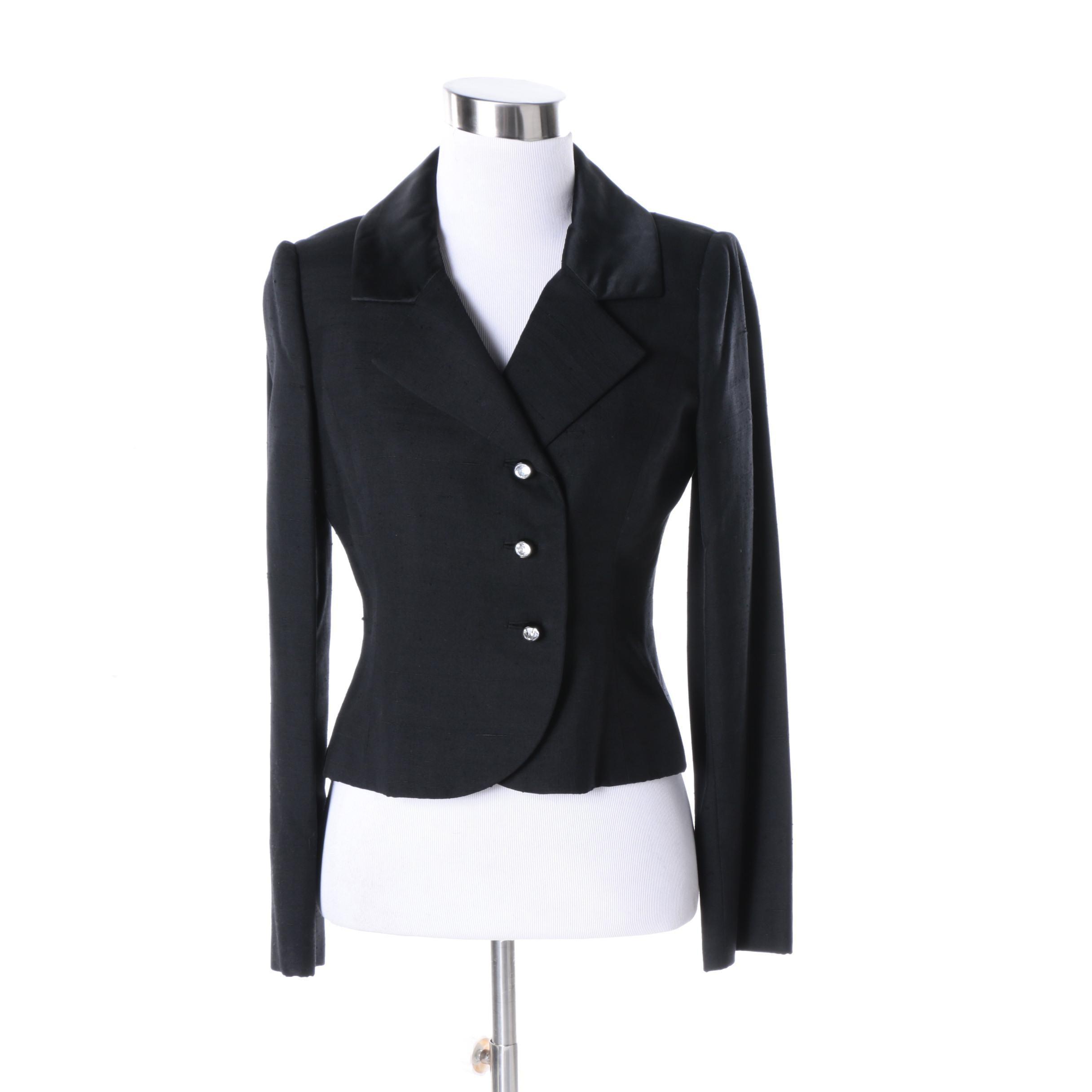 Women's Vintage Cardinali Black Cotton Suit Jacket