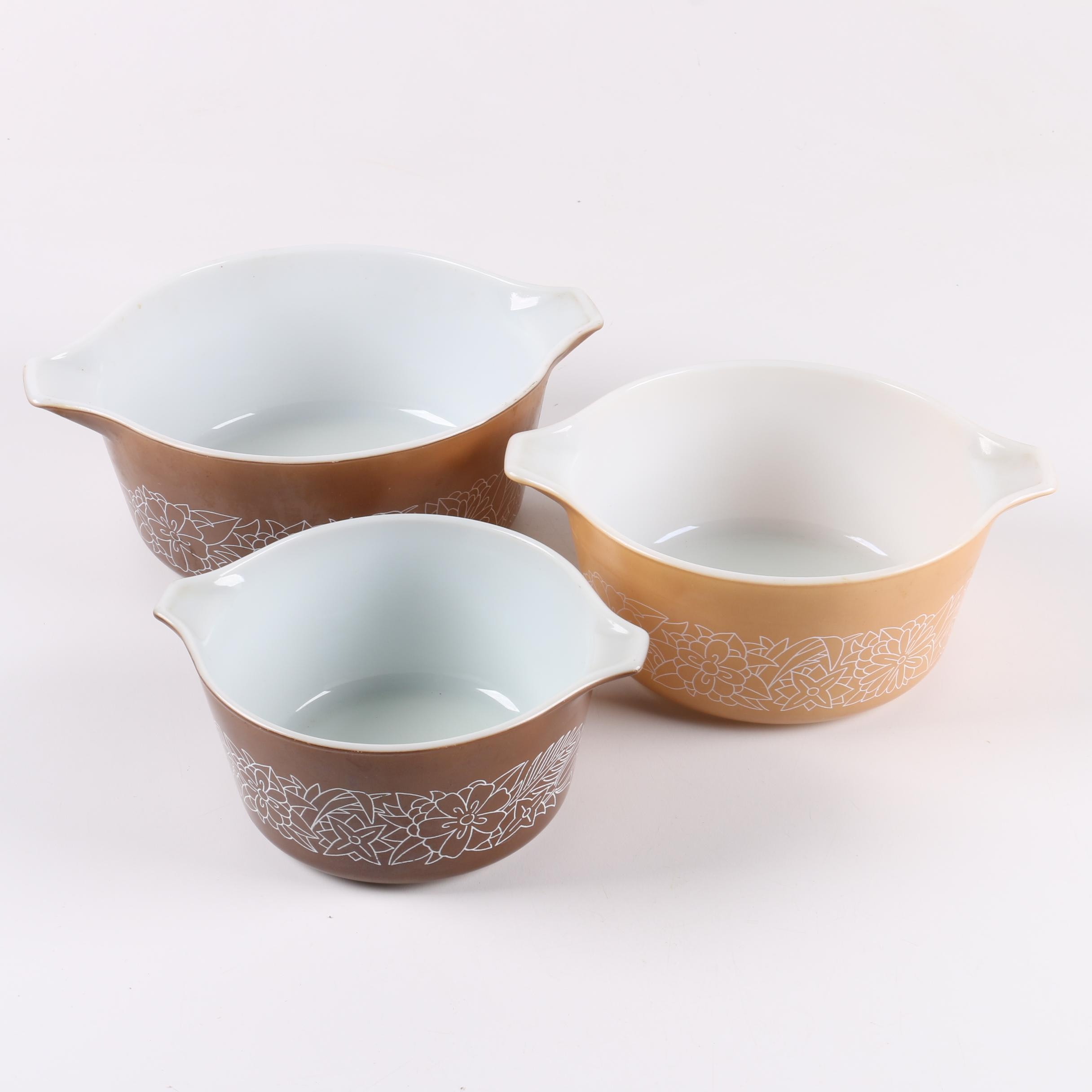 "Pyrex ""Woodland"" Nesting Bowls with Handle"