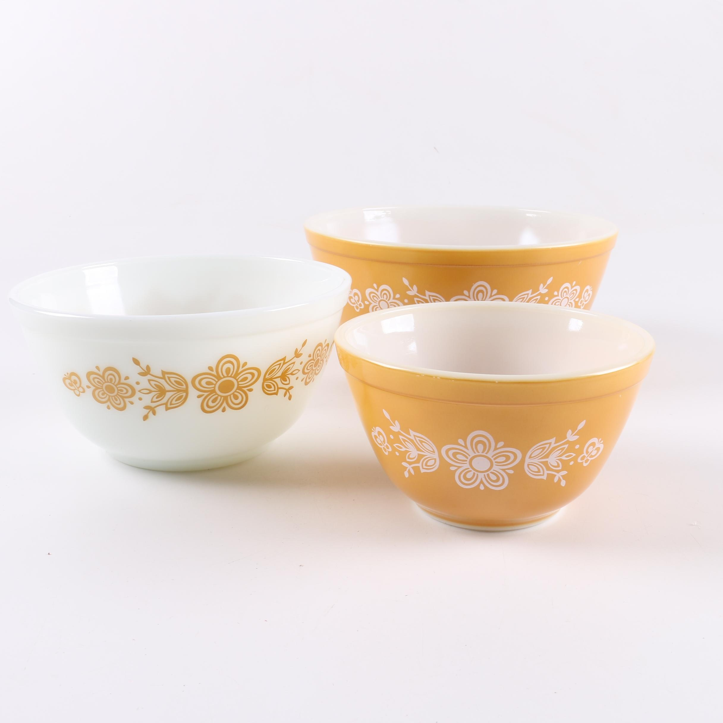 "Pyrex ""Butterfly Gold"" Nesting Mixing Bowls"