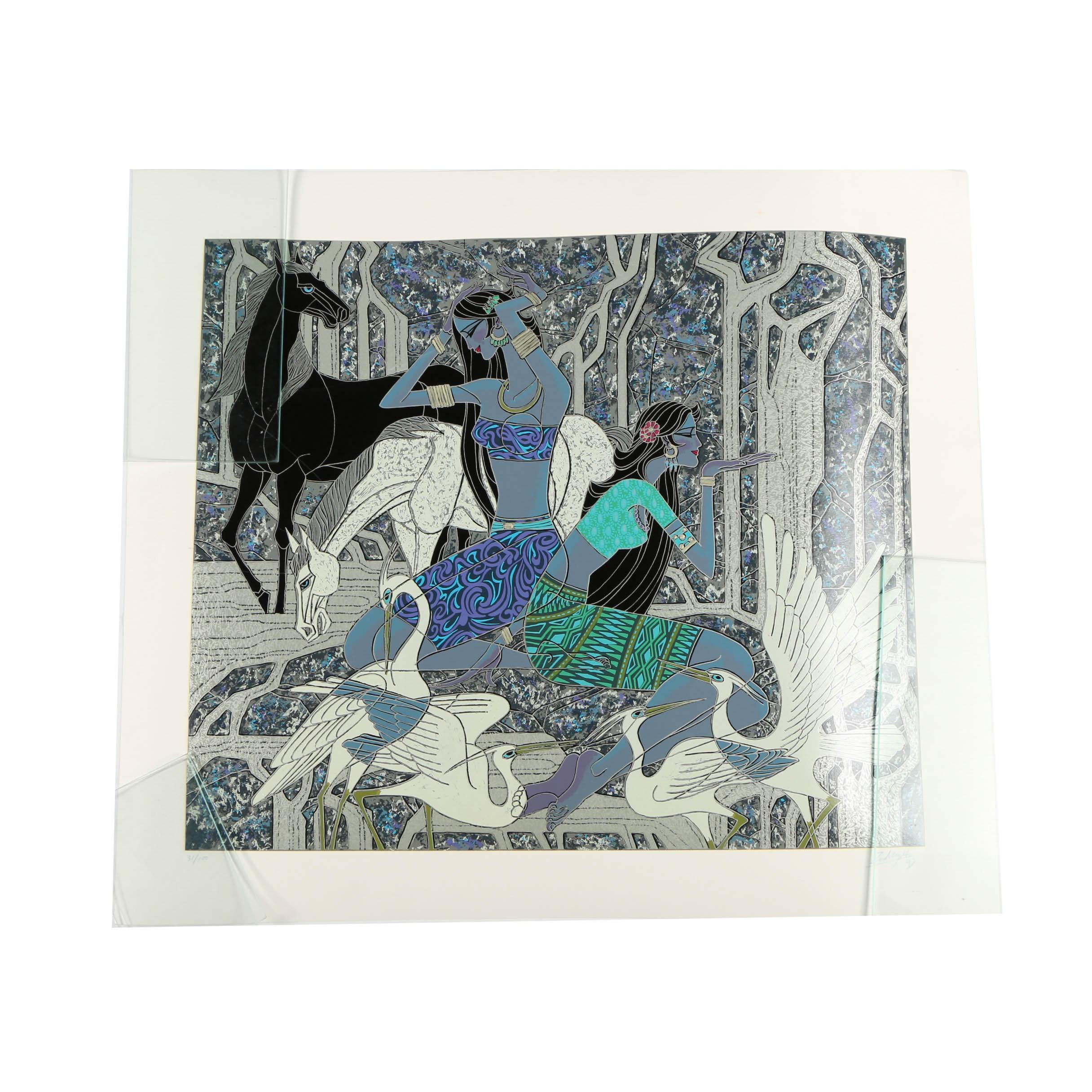 "Zu Ming Ho Serigraph ""Secret Waterfall"""